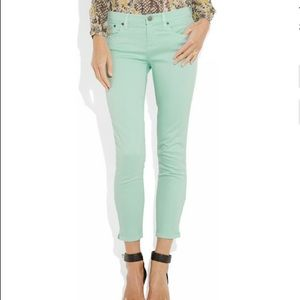 J. Crew Toothpick mint-green Ankle Jeans